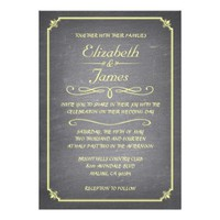 Yellow Vintage Chalkboard Wedding Invitations