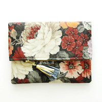 GARDENIA 2 / Floral silk folded clutch bag - Ready to Ship