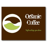 Custom Green & Brown Coffee Bean Business Postcard