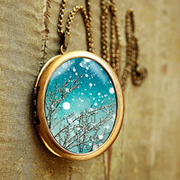 Photo locket trees falling snow blue sky winter by bomobob on Etsy