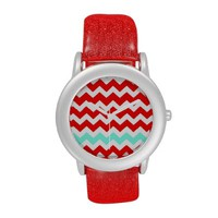 Chevron Red & Turquoise Glitter Watch