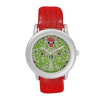 Joyful Green Red Glitter Watch