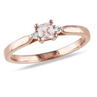3.5mm Square-Cut Morganite and Diamond Accent Promise Ring in Rose Rhodium Plated Sterling Silver - View All Rings - Zales
