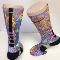 Custom Retro Rainbow Nike Elite Socks