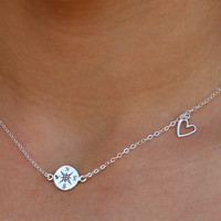 Compass and Heart Necklace - Sterling Silver Compass Necklace - Let Your Compass Be Your Heart, Lady Antebellum