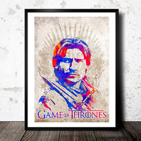 Game Of Thrones poster. Jaime Lannister. King Slayer. House Lannister poster. Watercolor poster. Handmade poster.