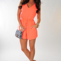 No Ordinary Love Romper: Neon Coral | Hope's