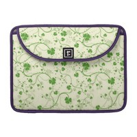 Green Floral Swirl Pattern Macbook Pro Sleeve
