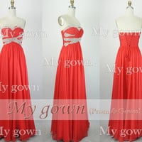 2014 Red Prom Dress,Beads Crystal Draped Chiffon Prom Dress, Wedding Dress, Evening Gown,Formal Dresses,Evening Dress