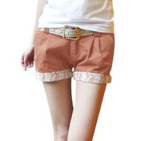 Allegra K Women Loop Waist Slant Pockets Front Low Rise Short Shorts Salmon M