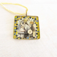 Resin Alice in Wonderland Necklace Alice Collage Jewelry Painted Steampunk Pendant Necklace Yellow Ribbon