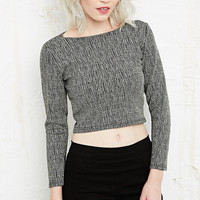Sparkle & Fade Textured Zip Back Crop Top - Urban Outfitters