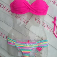 New Sexy Victoria's Secret Rio Bandeau Bikini Set 32A XS Hot Pink Sequin