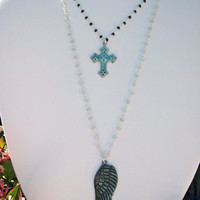 Verdigris Wing and Cross Necklace Double by SiennaGraceJewelry
