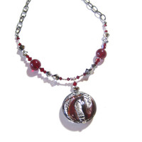 Murano Glass Red Silver Pendant Necklace, Italian Murano Jewelry, Venetian Glass Jewelry