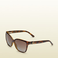 Gucci dark havana cat-eye sunglasses