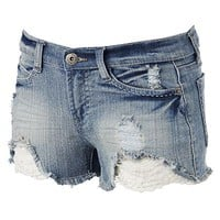 Mudd® Lace Denim Shortie Shorts - Juniors