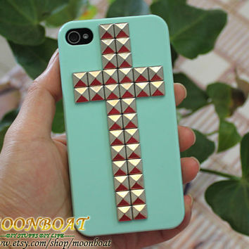 Light Green Hard Case with Cross Antique Silvery by moonboat