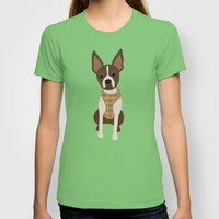Boston terrier chihuahua mix dog (Bochi) - Green T-shirt by mollykd