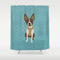 Boston terrier chihuahua mix dog (Bochi) - Green Shower Curtain by mollykd