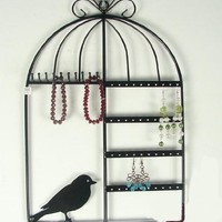 Zoohu Black Birdcage Jewelry Organizer / Jewelry Display / Jewelry Holder ~ Wall Mount or Table Top