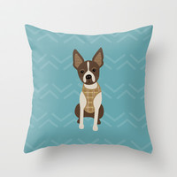 Boston terrier chihuahua mix dog (Bochi) - Green Throw Pillow by mollykd