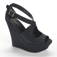 Candie's® Peep-Toe Platform Wedge Sandals - Women
