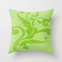 Floral Swirls Green on Green Throw Pillow by EML - CircusValley