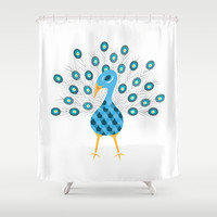 Geometric Peacock Shower Curtain by mollykd