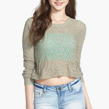 Rubbish® Open Knit Crop Pullover (Juniors) | Nordstrom