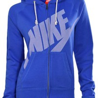 Nike Women's Rally Signal Full Zip Hoodie-Blue