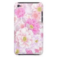 Modern Pink Flower Pattern Apple iPod Touch Case