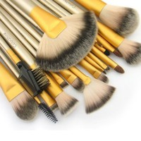Colorshine 18 Pcs Good Faux Fibre Soft Comfy Professional Cosmetic Tool Makeup Brush Set Beige