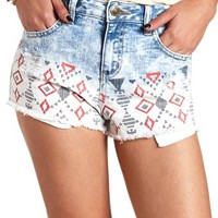 TRIBAL CUT-OFF HIGH-WAISTED DENIM SHORTS