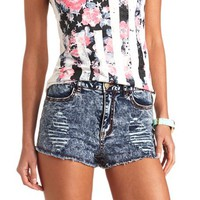 ACID WASH RIPPED DENIM HIGH-WAISTED SHORTS
