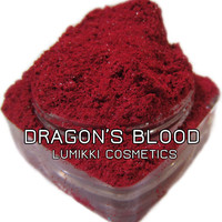 DRAGON'S BLOOD SAMPLE Size Mini Jar Bright Red Vivid Ruby Warm Blood Red Halloween Gothic Eyeshadow Mica Pigment Lumikki Cosmetics