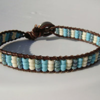 Blue Stripes Beaded Leather Bracelet