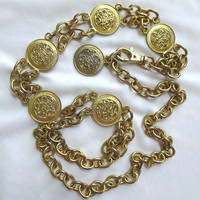 Vintage Double Linked Chain with Scroll Disks Heavy Metal Belt