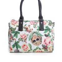 ANGELIC RICH FLORAL SHOULDER BOSTON BAG / WHITE