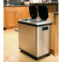 iTouchless 16 Gallon Dual-Compartment Stainless Steel Kitchen Recycle Bin/Trash Can