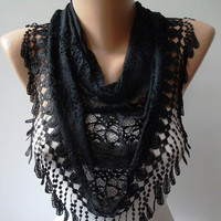 Black Laced Fabric Scarf with Special Black Trim by SwedishShop