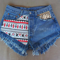 High waisted denim shorts Levi's Tribal Aztec studded frayed Grunge Hipster Tumblr clothing music festival