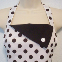 Womens Full Polka Dot Retro Apron / White with Brown by Eclectasie