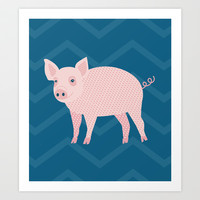 Geometric Pig Art Print by mollykd