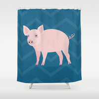 Geometric Pig Shower Curtain by mollykd