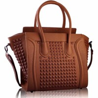 "Brown Grab Studded Ladies Tote Designer Handbag (13"" x 11"") with PreciousBags Dust Bag"