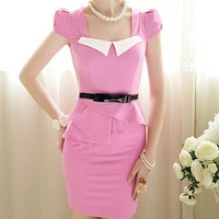 Rose red skinny tight sweet temperament insert collar short sleeve Lotus Leaf skirt bubble dress