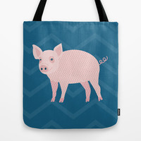 Geometric Pig Tote Bag by mollykd
