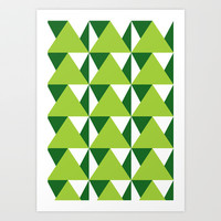 Geometric Pattern 3-Green Art Print by mollykd