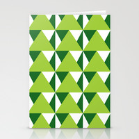 Geometric Pattern 3-Green Stationery Cards by mollykd